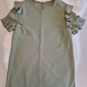 Zara dress basic collection midi green dress Sz L
